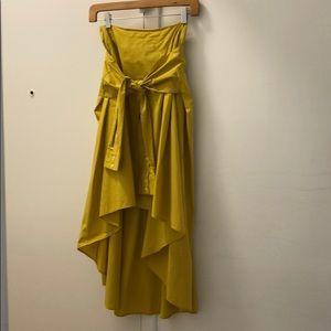 yellow zara midi skirt